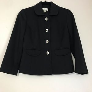 LOFT Petite Black Twist Button Blazer